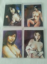 FOUR ASIAN NUDE WATERCOLOUR ACEO SKETCH ART CARDS PSC 8