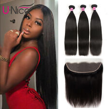 """UNice Peruvian Straight Human Hair 3 Bundles With 13x4"""" Lace Frontal Closure US"""