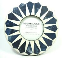 PAPER SOURCE ROUND ART DECO STYLE EASEL BACK PICTURE FRAME INDIGO BLUE & CREAM