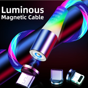 luminous flowing rainbow light magnetic usb cable 3 in 1 luminous magnetic char