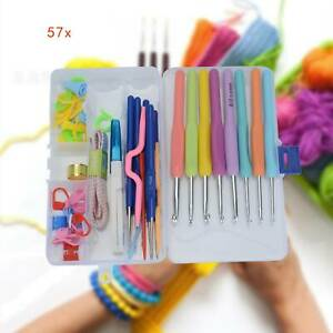 57 Set Crochet Hook Yarn Ergonomic Grip + Bag Kit Knitting Needle Sewing Tool UK