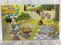 Vintage DISNEY MICKEY & MINNIE MOUSE 100 PIECE Puzzle 18x13 Backyard BBQ NIP NEW