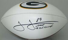 Packers JAMES JONES Signed Championship logo Football AUTO w/ SB XLV Champ JSA