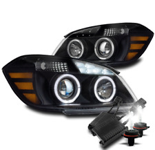 FOR 05-10 CHEVY COBALT HALO LED PROJECTOR HEADLIGHTS LAMP BLACK W/50W 8K HID KIT