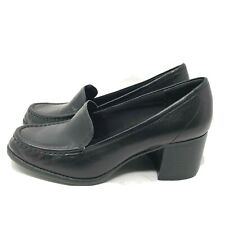 Liz Claiborne Kelsa Womens Black Leather Heeled Loafers Size 7