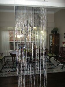 new 3 ft x 9 ft Diamond Crystal Iridescent Clear Hanging Beaded Curtain FreeShip