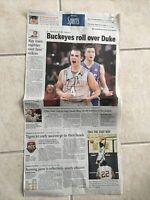 Ohio State Basketball Aaron Craft Hand Signed Newspaper victory over Duke
