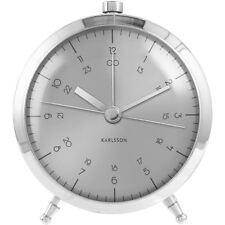 Karlsson Button Alarm Clock - Silver Unique Bedside Bedroom Modern Timepiece