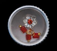 Bindi fleur rouge orange bijoux de peau front ht de gamme strass 13mm  INGE 2446