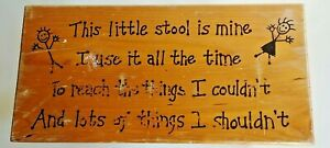 """This little stool is mine wooden vtg 11.5 x 7.5"""" great redo"""
