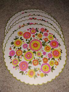 """Vintage 1960s Flower Power Table Tea Centerpiece Mats 14"""" Hallmark lot of 5"""