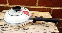 """Vintage Regal Ware Cast Aluminum 7"""" Pot With Lid RETRO Cream Color w/Stripes"""