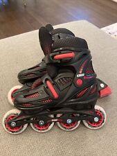 Crazy Youth Adjustable Rollerblades Size 2, 3, 4, 5 Black/Red InLine Skates