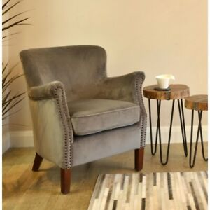 Ancient Mariner Armchair in Aluminium Grey Velvet - Small Comfy Armchair