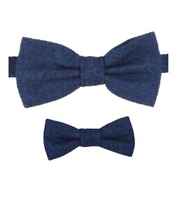 Mens Kids Boys Matching Herringbone Tweed Dickie Bow Tie in Blue