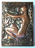 Nude Girl Primitive repousse hammered bas relief Plaque Copper Embossed Vintage