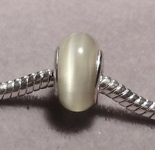 GREY Cat's eye Silver Plated core European Glass Bead    (151)