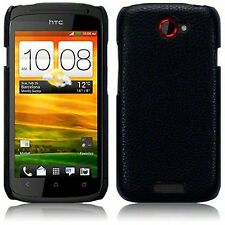 For HTC One S PU Leather Hard Back Case Cover - Black