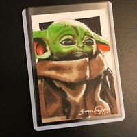The Child Baby Yoda Mandalorian Star Wars 1/1 original art sketch card aceo