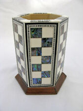 """Egyptian Desk Pen Holder Inlaid Wood Mother of Pearl Paua 4.25"""" # 619"""