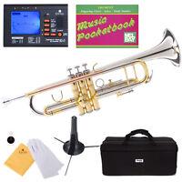 Mendini Bb Trumpet Silver & Rose Brass Monel Valves Piston +Tuner+Case ~MTT-30CN