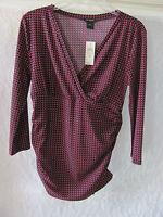 Ann Taylor V-Neck 3/4 Sleeve Top-Ruching on Sides -Black/Red- Medium -NWT $55