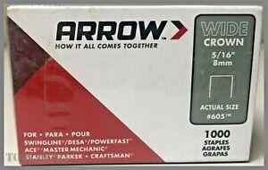 """5/16"""" (8mm) Wide Crown Staples Steel 1000/Pack Arrow USA 605 60530 MULTIFIT"""