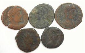 ANCIENT ROMAN 260-330 AD 5 PIECE NICE LOT FINE/VERY FINE