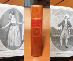 Rare 1791 BRITISH THEATRE Leather EARLY PLAYS Engravings GOLDSMITH CUMBERLAND &c