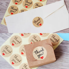 Lots 60Pcs Retro 'Thank You' Heart Kraft Sticker Label Seal Decal Gift Bag Decor