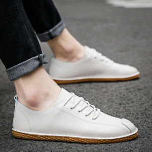 Mens Casual Comfort Faux Leather Lace Up Outdoor Breathable Driving Flats Shoes