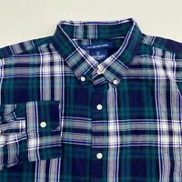 Old Navy Button Up Shirt Mens Size 2XL XXL Long Sleeve Multi-Plaid Casual Cotton