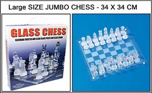 JUMBO GLASS BOARD TRADITIONAL CHESS SET UNIQUE AMAZING GIFT MIND GAME PARTY FUN