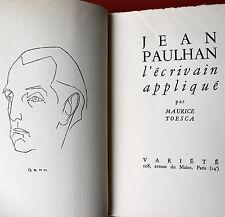 Jean  PAULHAN  l'écrivain appliqué Maurice TOESCA 1948 Ex 132