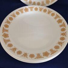 3 Corelle lunch dessert plates  BUTTERFLY GOLD flower 70s mid century vtg