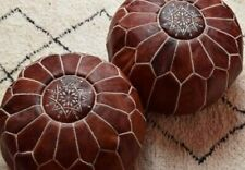 2 Brown Authentic MOROCCAN POUF Leather Pouf Ottoman Pouffe footst