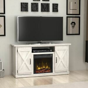 "Terryville White TV Stand for TVs up to 55"" with Electric Fireplace"