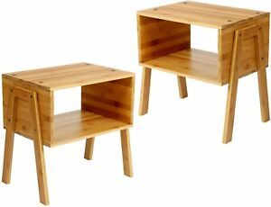 2 PC Set Rustic Bedside Tables Cabinet Open Shelves Small Side End Nightstand