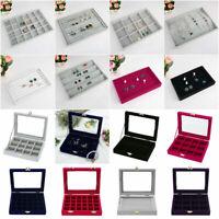 Velvet Jewelry Ring Display Organizer Tray Holder Cases Stud Earring Storage Box