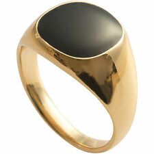 Yellow Gold Plated Black Onyx Mens Signet Ring Pinky Wedding Band Boy (K to Z+3)