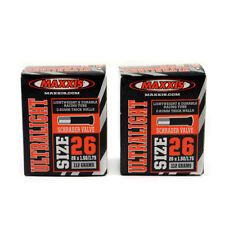 x2 Maxxis Ultralight 26 x 1.50 /1.75 Mountain Bike Schrader Valve AV Inner Tubes