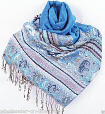 Women 100% Pashmina Cashmere Silk Scarves Wool Shawl Wrap Long Scarf Multicolor