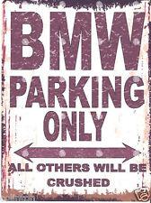 BMW PARKING SIGN RETRO VINTAGE STYLE 8x10in 20x25cm garage workshop art
