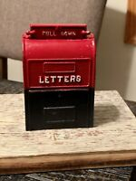 Vintage John Wright Mail Box Letters Cast Iron Still Bank, Red & Blue