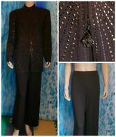 St. John Evening Brown Jacket Pants L 14 12 2pc Suit Sequined Sunrays Sparkle