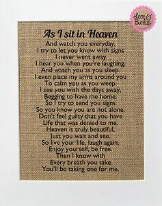 As I Sit In Heaven / Burlap Print Sign UNFRAMED / Rustic Memorial Poem Loved