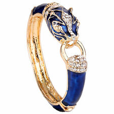 G1764 Leopard Panther Bracelet Bangle Austrian Crystal Animal Blue Enamel