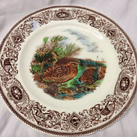 "MASON'S GAME BIRDS BROWN MULTI COLOR THE QUAIL DINNER PLATE 10 1/4"" LANDSCAPE"