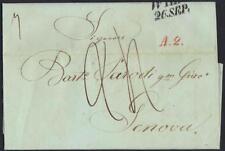 AUSTRIA ITALY 1845 VIENNA TO GENOA FOLDED LETTER WRITTEN IN ITALIAN