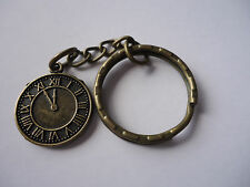 Antique Bronze Plated Alloy Metal  Watch Clock Charm Key Chain Ring (K02038)